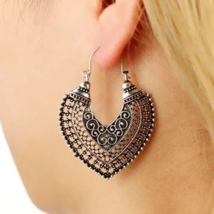 3/$30 Antique Silver Boho Heart Earrings